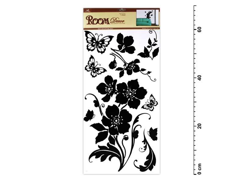 Samolepící dekorace 1042 černé květina s motýli 69x30cm