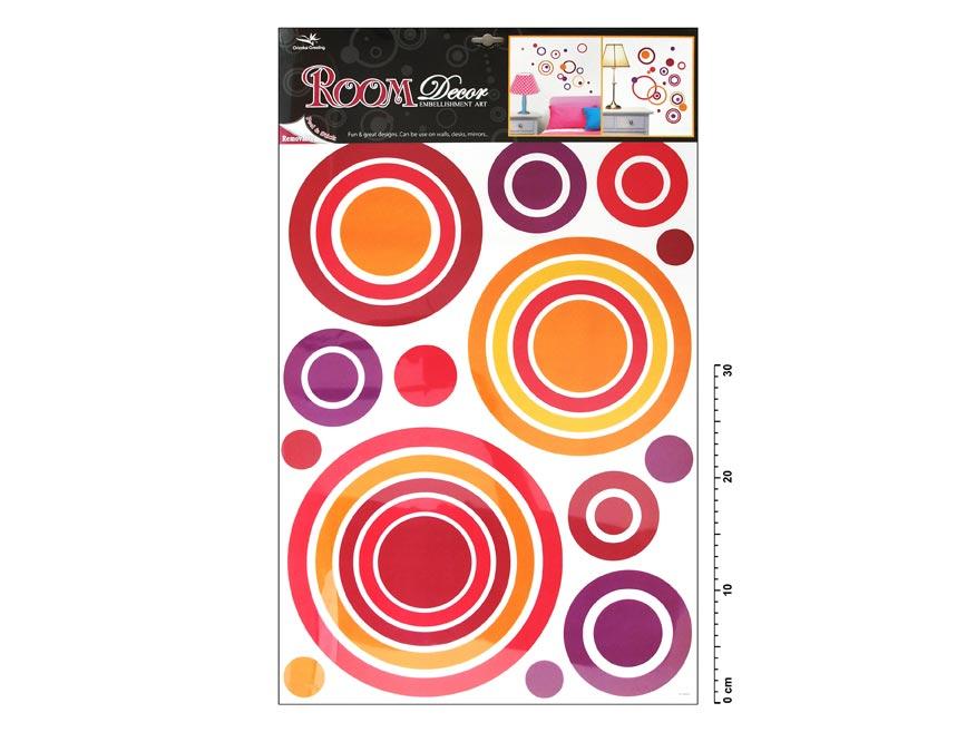 Samolepící dekorace 1057 růžové kruhy 70x42cm