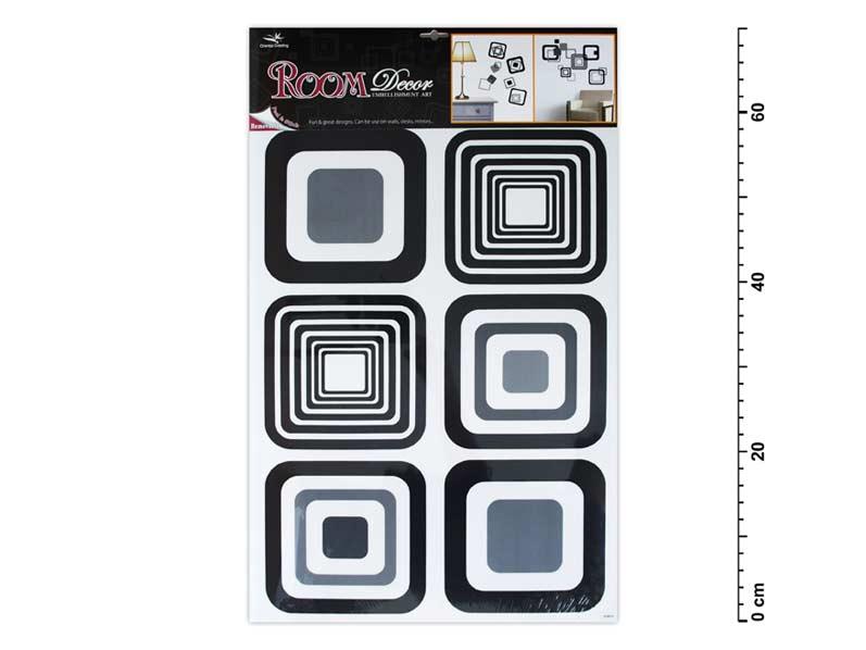 Samolepící dekorace 1062 černé čtverce 70x42cm