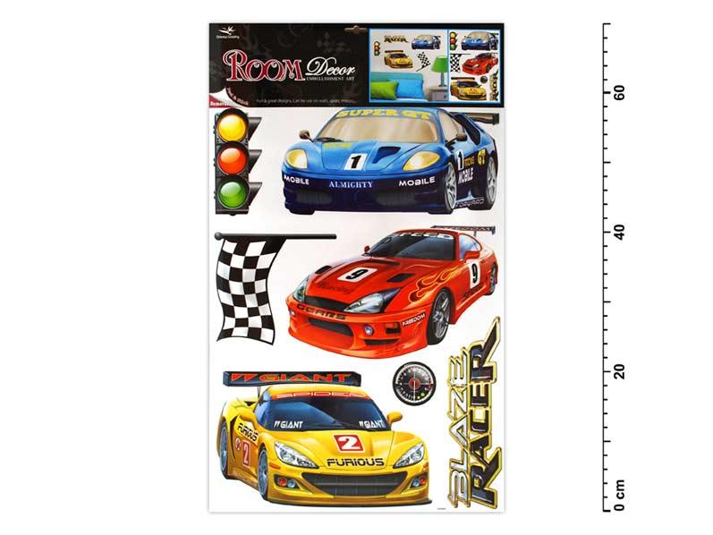 Anděl Samolepící dekorace 1065 závodní auta 70x42cm