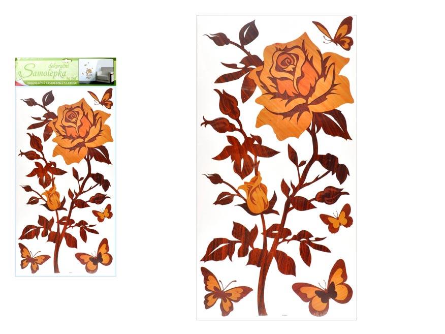 Samolepící dekorace 1346 růže s imitací dřeva, 69x32 cm