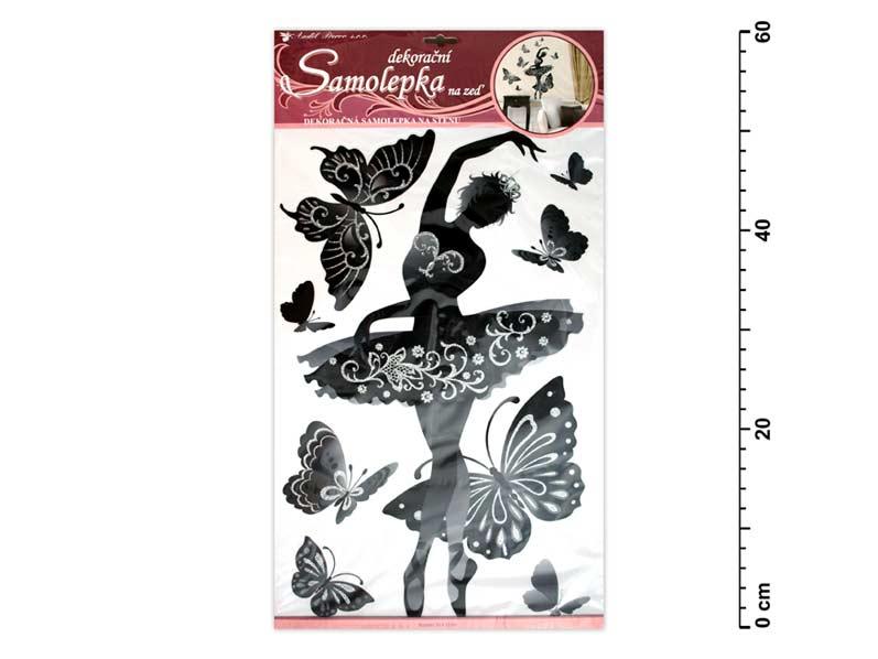 Samolepící dekorace 10017 baletka černá s glitry a kamínky 60x32cm