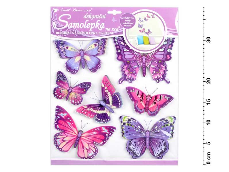 Anděl samolepící dekorace 10162 motýli fialoví 30,5x30,5 cm