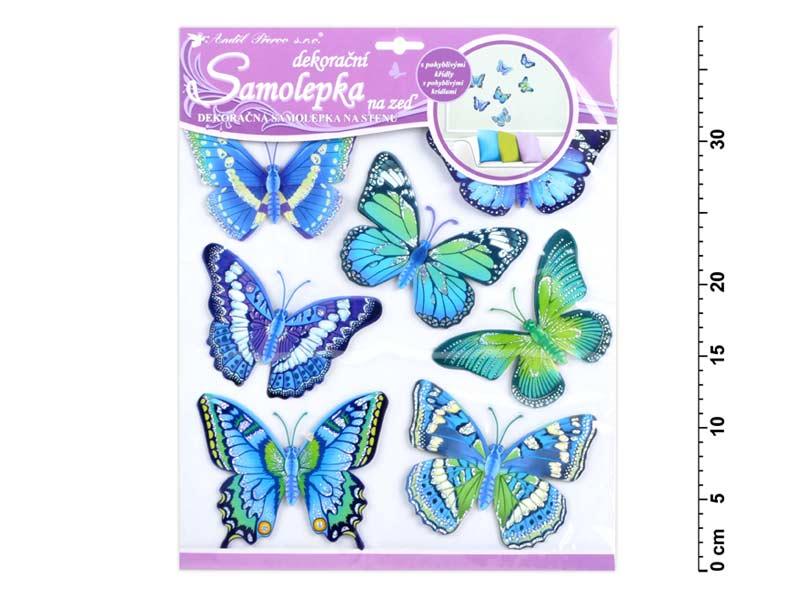 Anděl samolepící dekorace 10163 motýli modří 30,5x30,5 cm