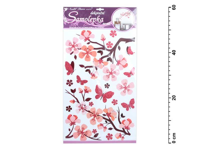 Samolepící dekorace 10165 s glitrem, 50x32 cm, růžová větev
