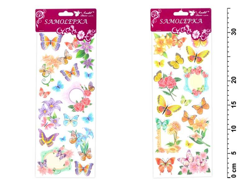 Samolepky 1253 motýlci a květiny s glitry 34,5x12,5 cm