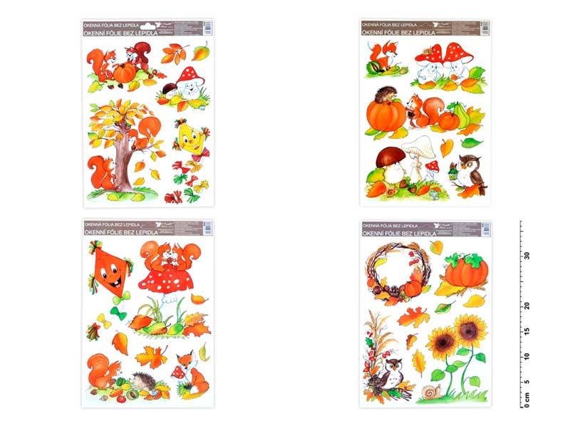 Okenní fólie 946 ručně malovaný podzim sovy,veverky,lišky 37x26 cm