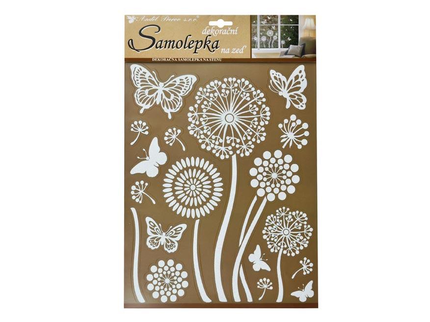 Samolepící dekorace 10190 bílé květiny s glitry 35 x 27,5 cm