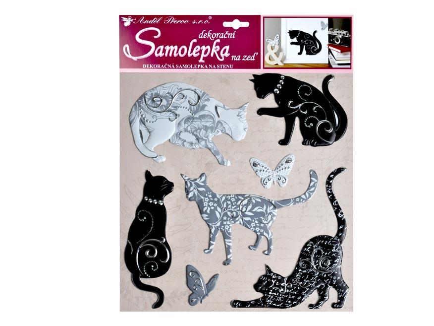 Samolepící dekorace 10228 kočky se stříbrným dekorem 38x31 cm