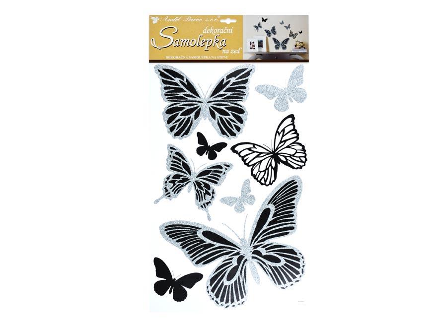 Samolepící dekorace 10232 motýli se stříbrnými glitry 60x32 cm
