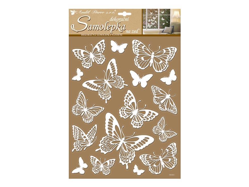 Anděl samolepicí dekorace 10227 bílí motýli s glitry 41x28 cm