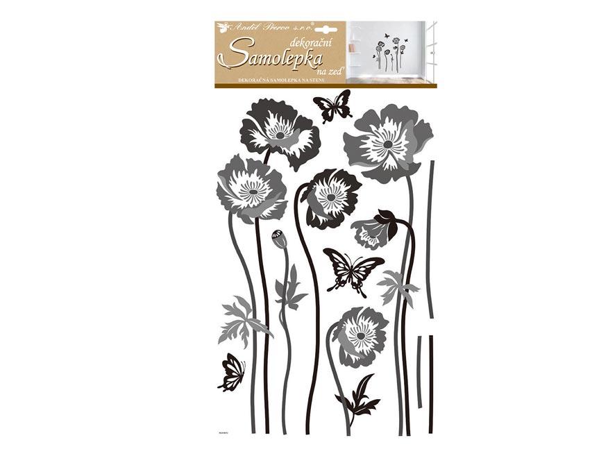 Samolepicí dekorace 10230 černošedé květiny 60x32 cm