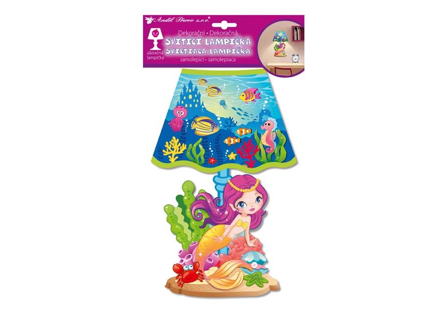 Samolepicí dekorace 10527 svítící LED lampička mořská panna 31cm