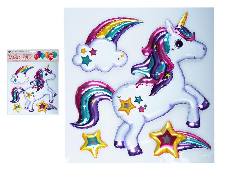 Anděl Samolepící dekorace 10269 3D balónková jednorožec 30 x 30 cm