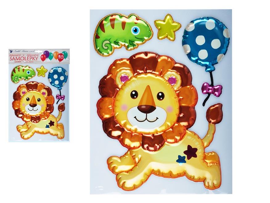 Anděl samolepící dekorace 10270 3D balónková lev 35 x 27 cm