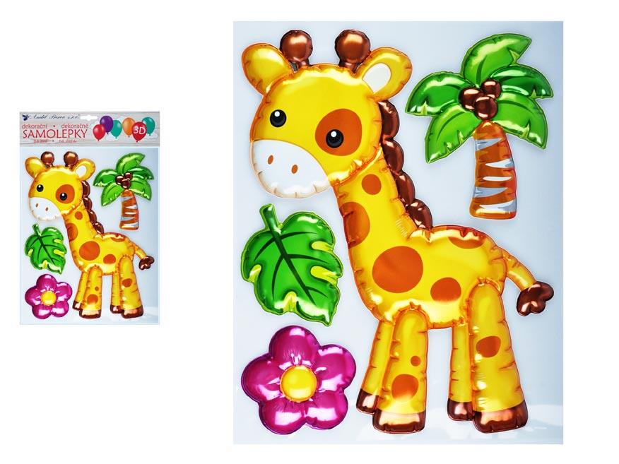 Samolepící dekorace 10271 3D balónková žirafa 35 x 27 cm