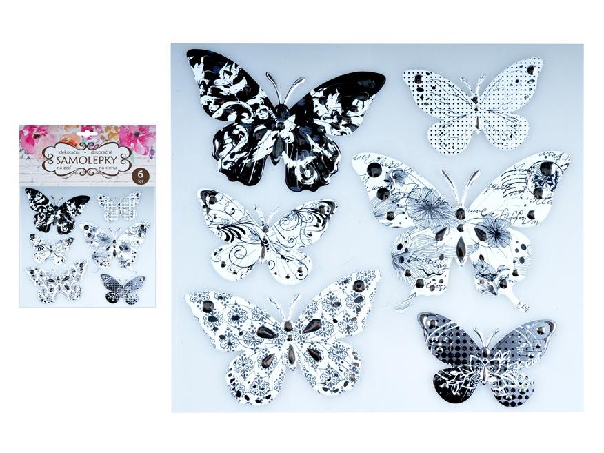 Samolepící dekorace 10275 motýli se stříbrou ražbou 21 x 19 cm