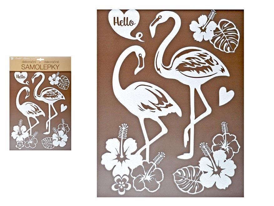 Samolepící dekorace 10281 bílí plameňáci s glitry 35 x 27 cm