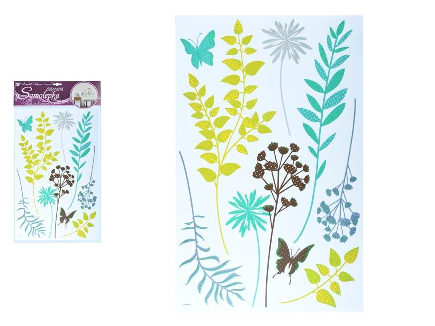 Samolepící dekorace 10283 barevné kapradiny s glitry 50 x 32 cm