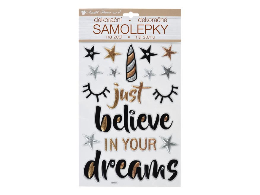 Samolepící dekorace 10396 Believe in Dreams prostorová 36 x 21 cm