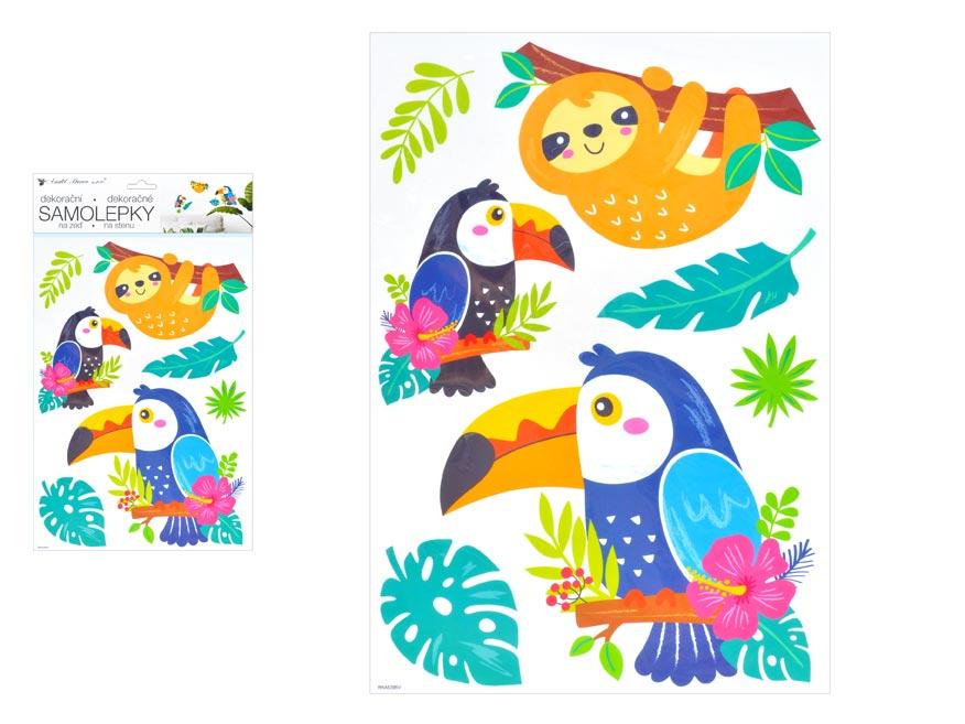 Samolepící dekorace 10448 lenochod a tukani 24 x 42 cm