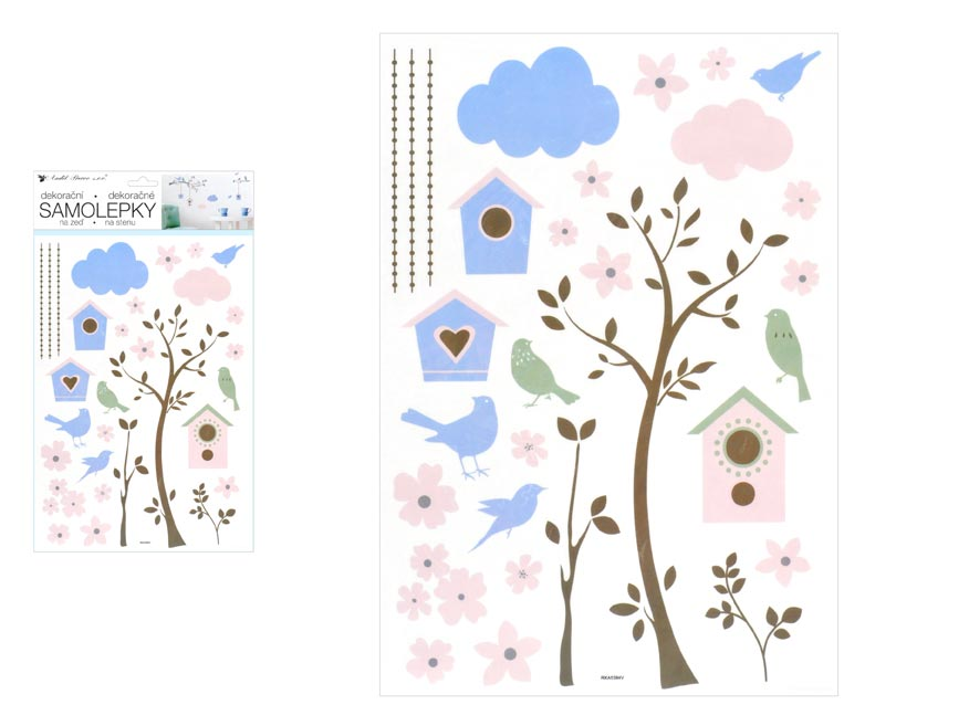 Samolepící dekorace 10455 strom a budky 24 x 42 cm