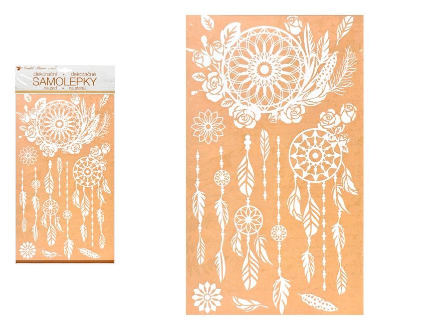 Samolepící dekorace 10462 bílý lapač snů s glitry 24 x 47,5 cm