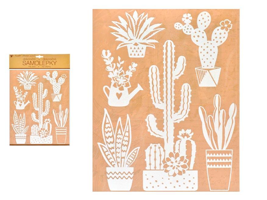 Samolepící dekorace 10466 bílé kaktusy 27,5 x 41 cm