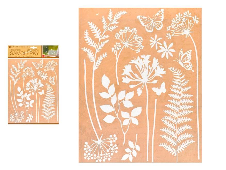 Samolepící dekorace 10470 bílé traviny 27,5 x 41 cm