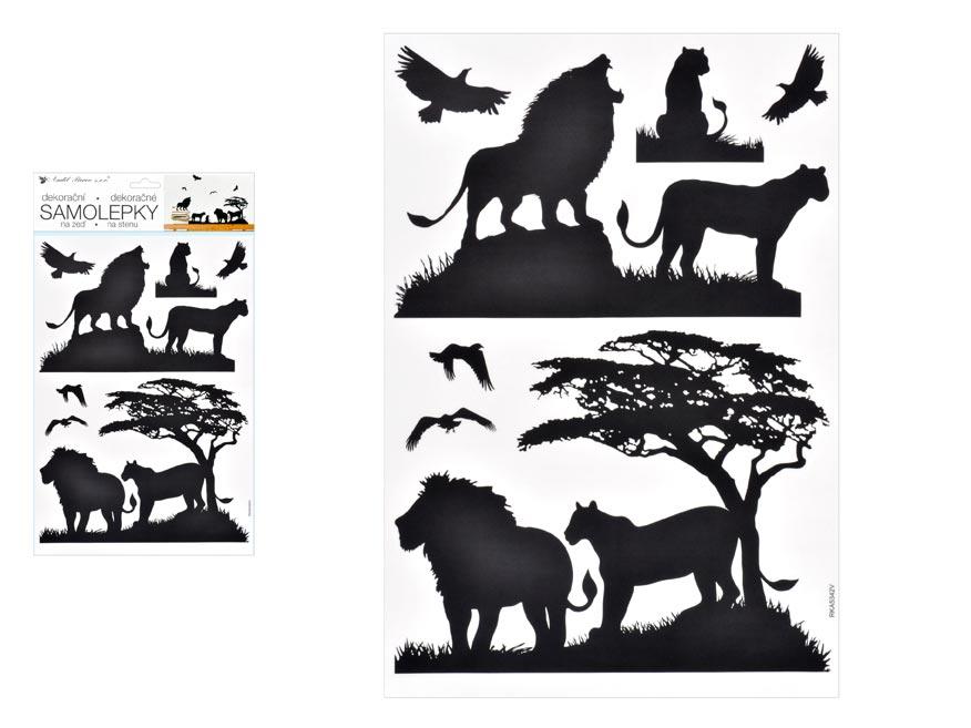 Samolepící dekorace 10474 černá lvi 24 x 42 cm