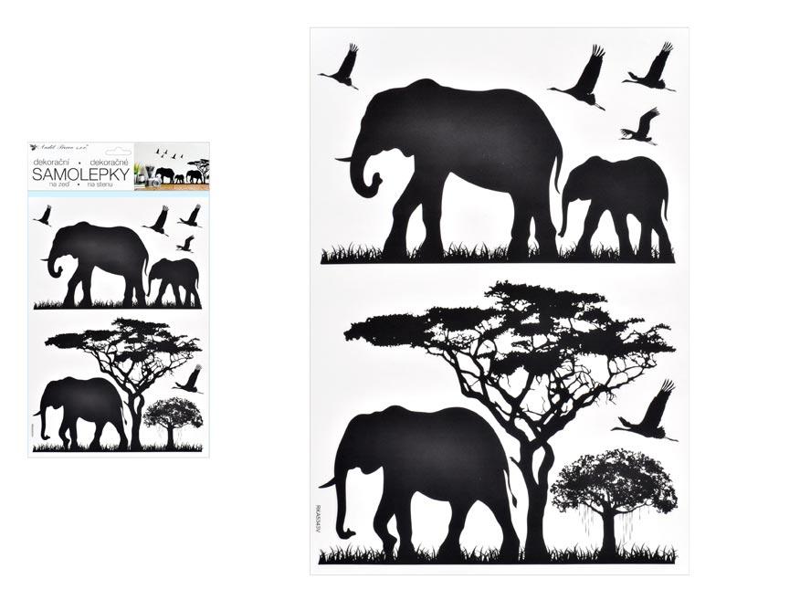 Samolepící dekorace 10475 černá sloni 24 x 42 cm