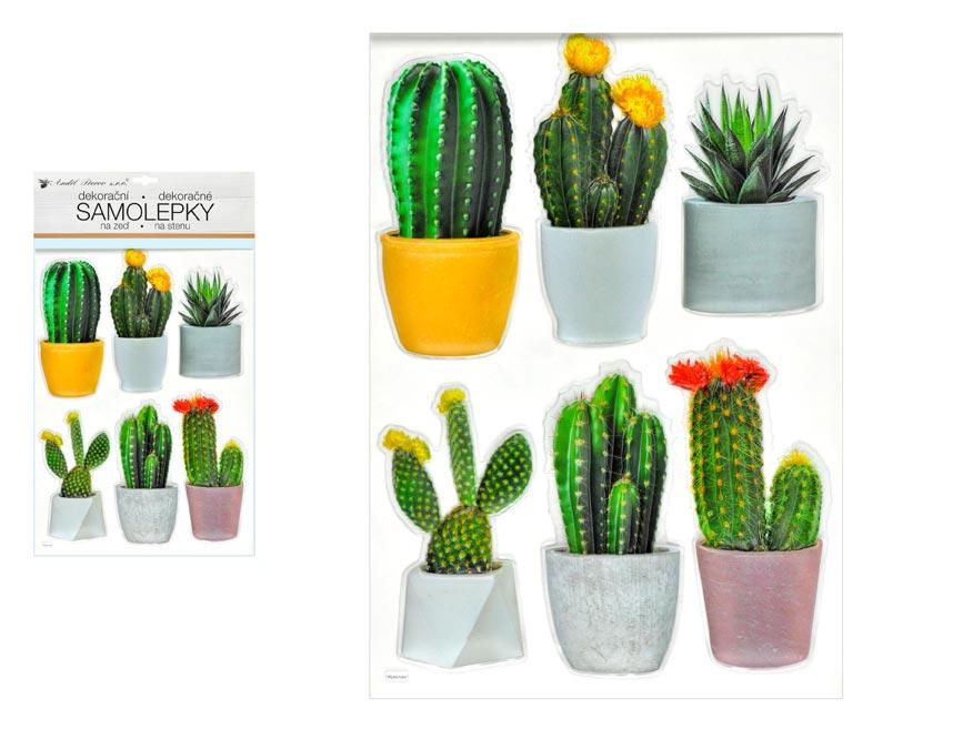 Samolepící dekorace 10481 plastická 3D kaktusy 29 x 49 cm