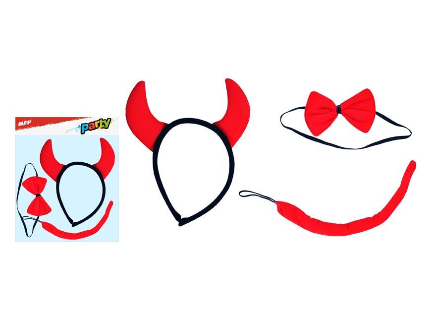 Maska set 3ks ďáblík (čelenka,ocásek,motýlek)