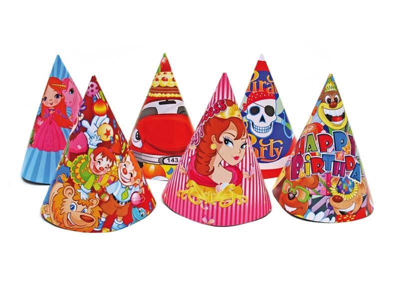 Klobouček karnevalový 6ks 16cm papírový mix2 ME118