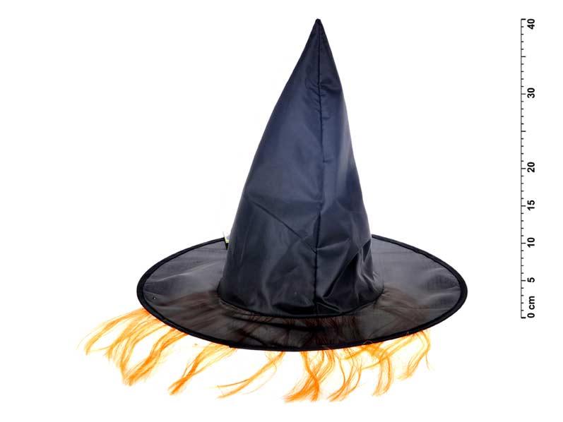 Klobouk čarodějnický M02 černý s vlasy 36x30cm