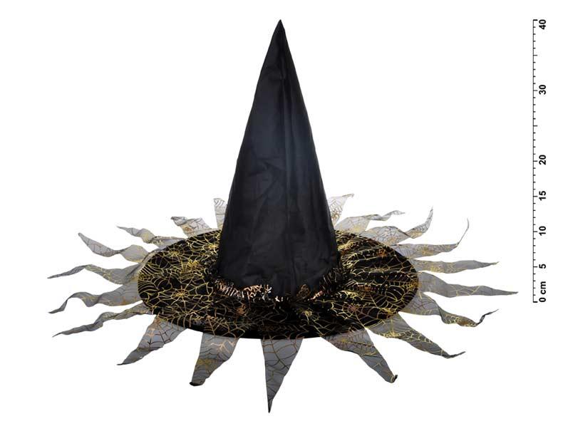Klobouk čarodějnický M03 černozlatý 40 x 36 cm