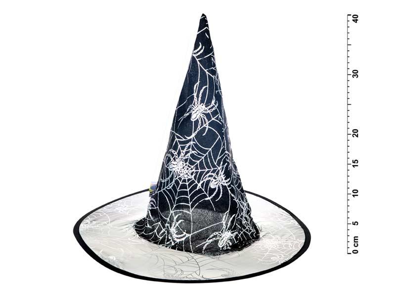Klobouk čarodějnický M01 černostříbrný 39x37cm