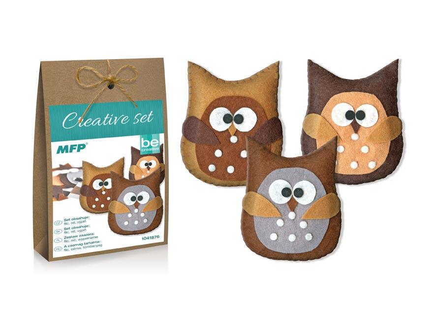 Kreativní set - sova hnědá 3ks, papír. krabička