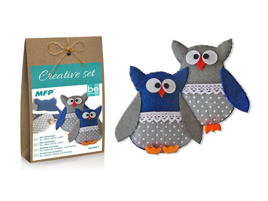 Kreativní set - sova modrá 2ks, papír.krabička