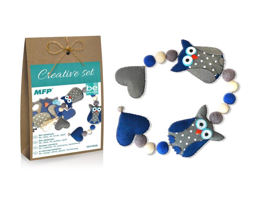 Kreativní set - girlanda sovy modrá, papír.krabička