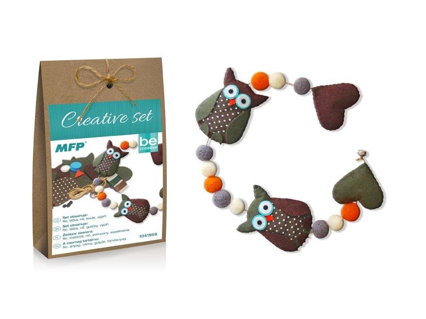 Kreativní set - girlanda sovy hnědá, papír.krabička