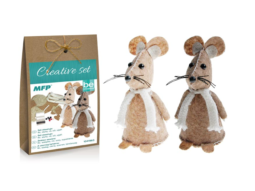 Kreativní set - myška 2ks, papír.krabička