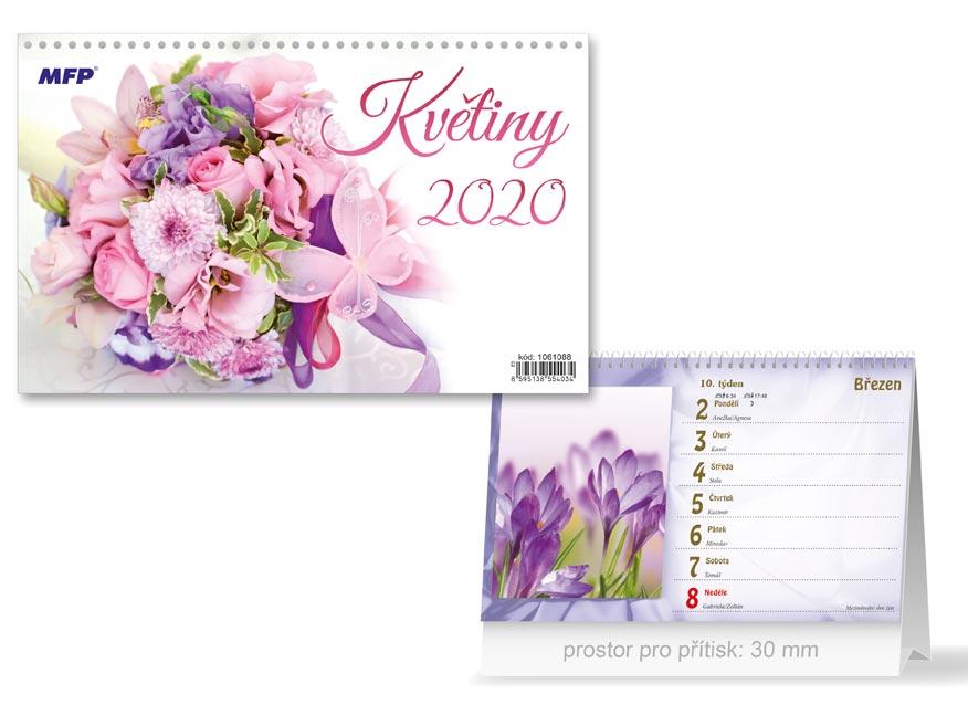 MFP 1061088 kalendář 2020 stolní Květiny