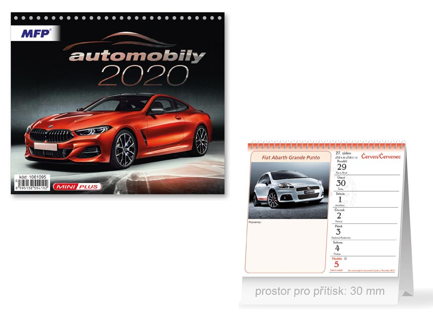 MFP 1061095 kalendář 2020 stolní mini Automobily
