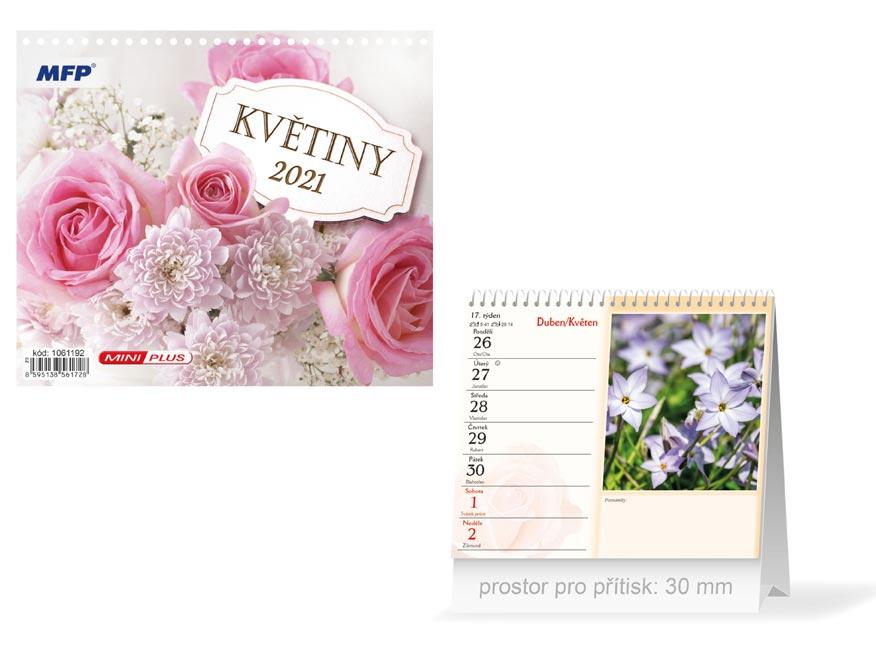 MFP 1061192 kalendář 2021 stolní mini Květiny