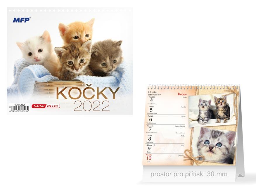 Kalendář 2022 stolní mini Kočky