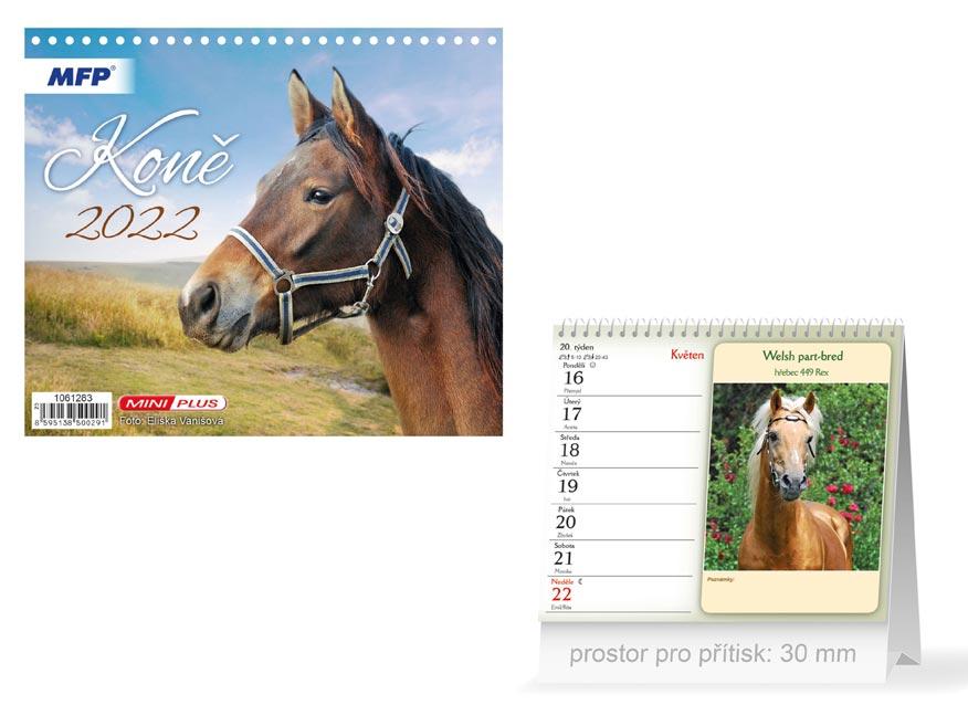 Kalendář 2022 stolní mini Koně