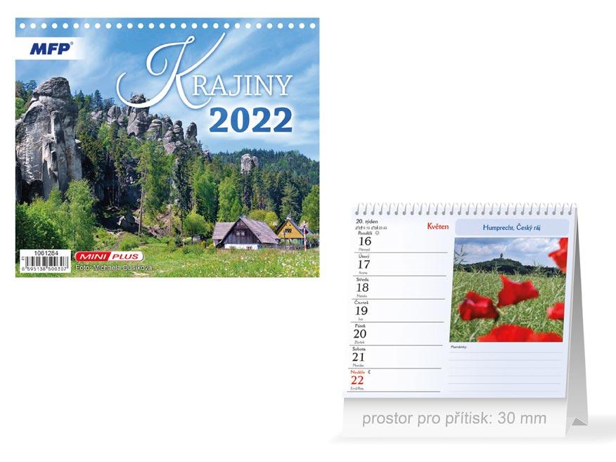 Kalendář 2022 stolní mini Krajiny