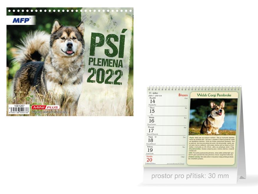 Kalendář 2022 stolní mini Psí plemena