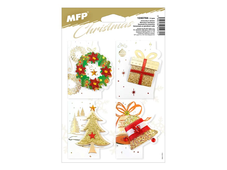 MFP 1240784 jmenovky na dárky vánoční 3D 6,5x8cm (4ks)